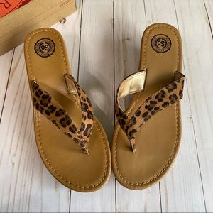 SO Leopard wedge thong sandals